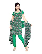 Sonal Trendz Women's Polyester Green Printed Dress Material