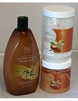 Dead Sea Collection Almond Vanilla Bundle - Salt Scrub Bath Salts Bubble Bath