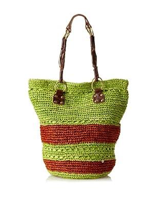 Florabella Women's Cayman Crochet Raffia & Leather Tote (Lime/Brown)
