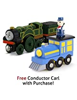 Thomas & Friends Wooden Railway Emily with Free Conductor Carl Train