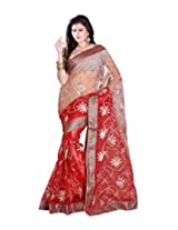 Sangam Red & Chiku Tissue Aari Work Sari
