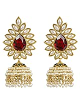 Indian Bollywood Inspired Gold Plated Pearl Stone Made Bridal Jhumki Earring For Women