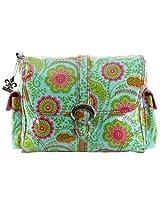 Kalencom Laminated Buckle Bag, Wildflower Garden Aqua
