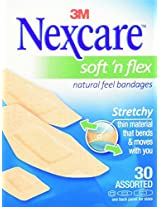 Nexcare Comfort Flexible Fabric Bandage, Assorted Sizes, 30 Count (Pack of 6)
