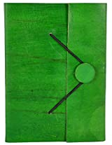 Craft Club Green Leather Notebook with Button, 7 x 5 inches, 200 Pages