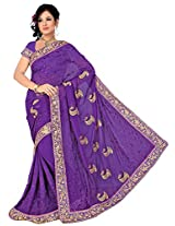 Chinco Embroidered Saree With Blouse Piece (502-B_Purple)