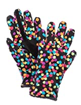 Isotoner Smart Touch Womens Colorful Black Dots Fleece Smartouch Texting Gloves