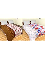 Merwade Cotton 2 Double Bedsheets - Floral, White