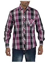 Maxx Shirts Men's Slim Fit Shirt (MX020, Pink and White, 42)