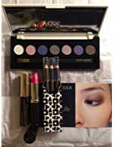 Estee Lauder Christmas Gift Set:Pure Color7-Color Eyeshadow 3 Pure Color Eyeliners Extreme Black Mascara Rubellite Shimmer Lipstick And A Big Cosmetic Bag