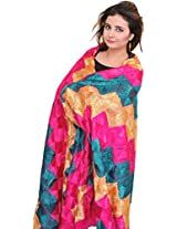 Exotic India Phulkari Hand-Embroidered Dupatta from Punjab - Color Raspberry SorbetColor Free Size