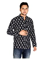 Ethnic Cotton Designer Paisley Black Casual Shirt By Rajrang