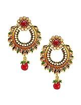 Habors Gold Plated Green Alvira Chandbali Earrings for Girls