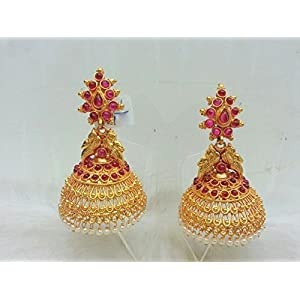 Kempu Temple Traditional South Indian Jhumka