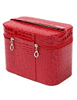 Crocodile Pattern Makeup Bag Cosmetic Tool Case Beauty Nail Decoration Storage 4 Colors (Red)