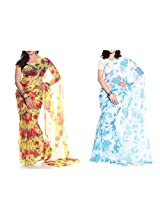 MemSahiba Women Semi-Chiffon Saree set of 2 (MS-652-1092)