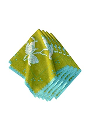 Couleur Nature Set of 4 Sparrow Napkins, Green/Turquoise