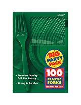 Amscan Big Party Pack 100 Count Mid Weight Plastic Forks, Green