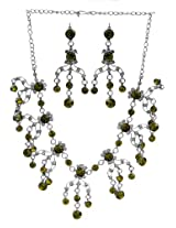 Exotic India Green Victorian Necklace with Earrings Set - White Metal with Cut Glass