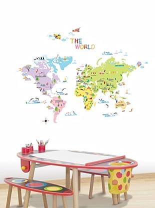 Ambiance Sticker Wandtattoo World Map For Children
