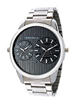 Exotica Black Dial Analogue Watch for Men (EF-55-Dual-ST-B)