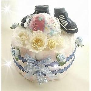 出産祝・お誕生日 リンリンボール おむつケーキ with ソックス・Blue Boy