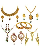 Surat Diamonds 4 Coloured Stone & Gold Plated Sets, 1 pair Chand bali Earrings & 1 Pair Lion Enamelled Bangles Hamper for Women (H1439)