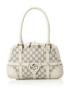 Gucci Women's Belted Logo Shoulder Bag, Tan/Navy