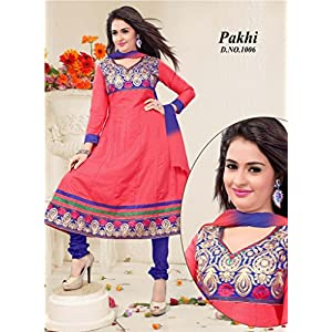 Designer Wear Embroidered Cotton Material Unstitched Anarkali Suit - Blue & Watermelon Red Color - Model Number PA 1006 by Srivika Fashions