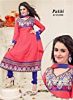 Watermelon Red and Blue Embroidered Cotton Anarkali Unstitched Suit PA1006