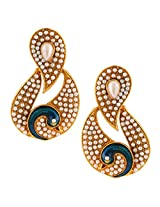 White Colour stones with peacock antique golden India ADIVA pearl stud earringABEA0349WH