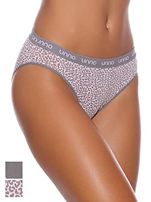 Unno Pack x 2 Braguitas Bikini Algodón (Gris / Print)