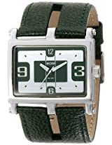 EOS New York Unisex 119LGRN Slit Green Leather Strap Watch