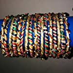 Hunar, Golden/Multicolor beaded bangles,set of 17, size 2.10