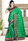 Jade Green Net Embroidered Party and Festival Saree