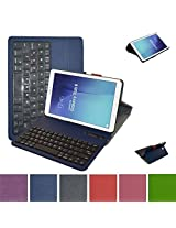 Galaxy Tab E 9.6 Bluetooth Keyboard Case,Mama Mouth Slim Stand PU Leather Case Cover With Romovable Bluetooth Keyboard For Samsung Galaxy Tab E 9.6 / E Nook 9.6 T560 T561 T567 Verizon 4G LTE,Blue