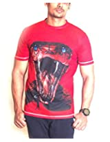 Ushirts Men's Round Neck Blended Cotton 3D T-Shirt (US ANC 01_Red_Large)