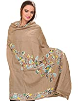 Exotic India Shawl from Amritsar with Ari Embroidered Flowers in Multi-Colored T - Color IncenseColor Free Size