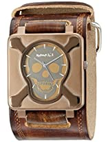Nemesis Men's BUIN930B Ion-Plating Stainless Steel Brown Case Brown Leather Cuff Band Watch