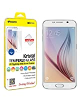 Amzer Kristal Tempered Glass HD Edge2Edge White Screen Protector for Samsung Galaxy S6 - Retail Packaging - Tempered Glass