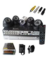 Set of 4 DOME CCTV Camera and 1 BULLET And 8 ch DVR With All Required Connectors