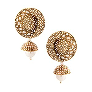 Voylla Traditional Jhumki Earrings Studded With Pearls [Jewellery]