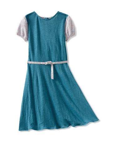Zolima Girl's Belted Dress (Mediterranean Blue)