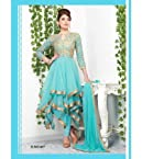 Net Embroidered Blue Semi Stitched Anarkali Suit - 407