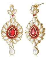 Tribal Zone Drop Earrings for Women (Red) (VDER039)