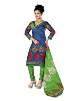 Divisha Fashion Blue and Green Cotton Printed Churiddar Suit with Dupatta