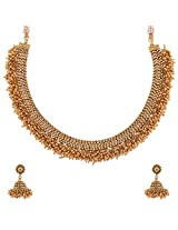 1 Gram Gold Plated Traditional South Indian Necklace Set