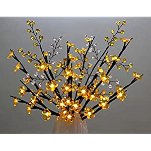 Yellow Crystal Flowers Branch Lights with Beaded Sprays