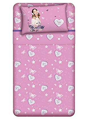 Disney Betttuch und Kissenbezug Violetta Rose