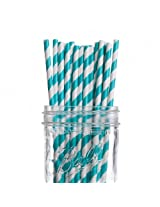 Dress My Cupcake Aqua Striped Paper Straws, 25-Pack